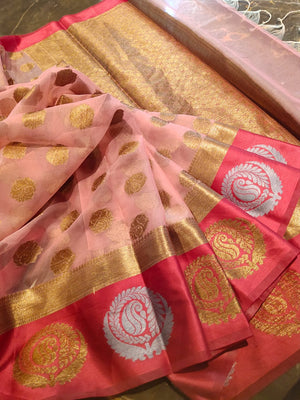 Light pink kora saree with golden and pink zari border and golden booties all over - EthnicRoom