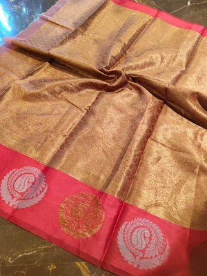 Light pink kora saree with golden and pink border with golden booties all over - EthnicRoom