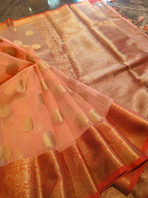 Light peach kora saree with golden zari weaving and booties all over - EthnicRoom