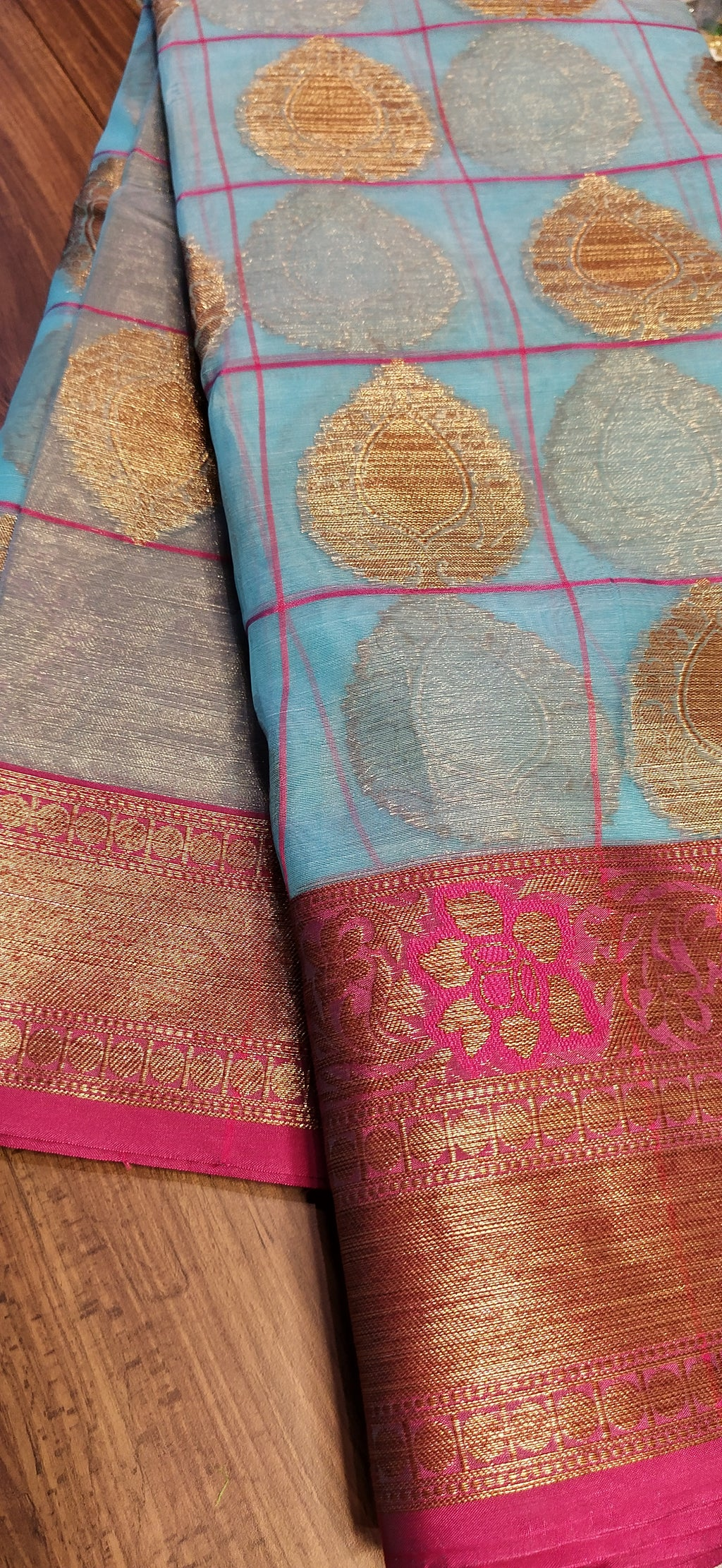 Light blue kora silk saree with butties in checks contrasting aanchal and blouse - EthnicRoom