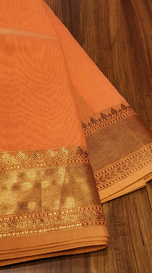 Orange linen cotton plain saree with golden zari border heavy zari aanchal and blouse - EthnicRoom