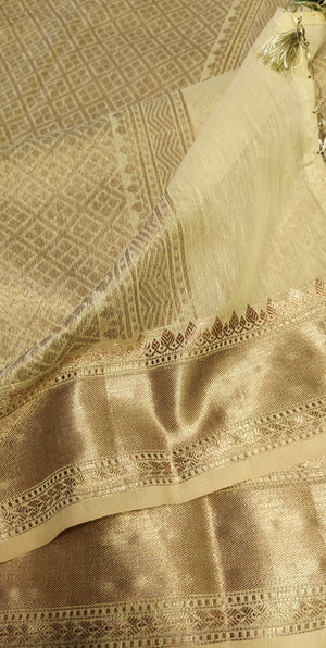 light pista green linen cotton saree with golden zari border heavy zari aanchal and blouse - EthnicRoom