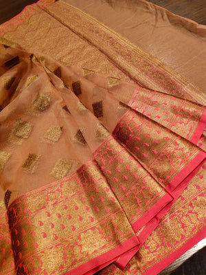 Light brown kora saree with golden zari weaving and booties all over - EthnicRoom