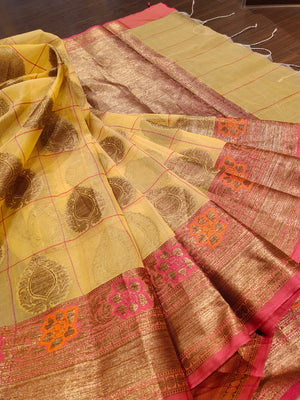 Yellow check kora saree with golden zari weaving and booties all over