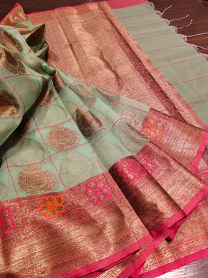 Light green kora saree with golden zari weaving and Multicolor flowers and golden booties all vr - EthnicRoom