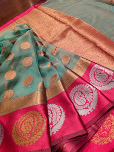 Light blue kora saree with pink border and golden border and golden booties all over - EthnicRoom