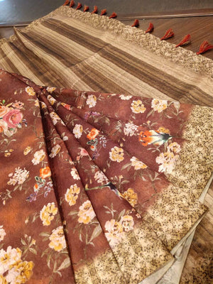 Brown kora saree with digital print all over - EthnicRoom
