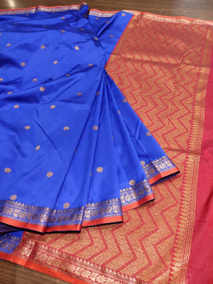 Blue soft silk saree with golden zari weaving and butties all over - EthnicRoom