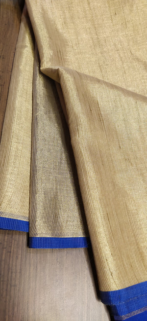 Golden linen zari saree with blue border - EthnicRoom