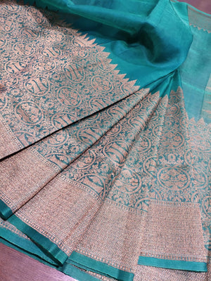Bottle green katan tusser silk saree with sliver zari weaving - EthnicRoom