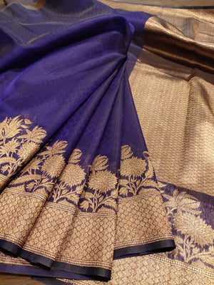 Navy blue katan tusser silk saree with golden zari weaving