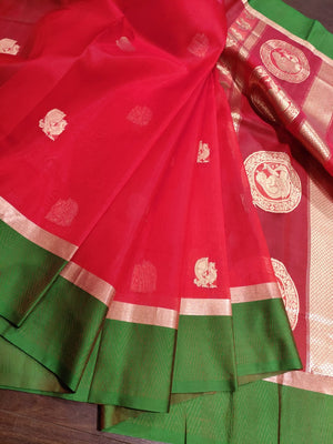 Red katan tusser silk saree with green and golden border and golden butties - EthnicRoom