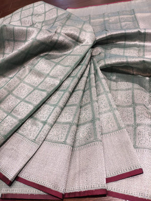 Light green katan tusser silk saree with sliver zari brocade weaving and sliver weaving all over - EthnicRoom