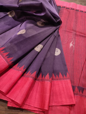 Dark purple tusser katan saree with red border and golden butties - EthnicRoom