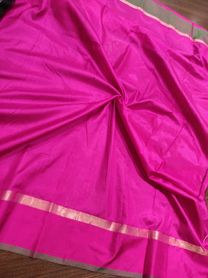Black katan silk saree with golden butties and pink and green border - EthnicRoom