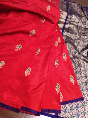 Red katan silk saree with golden flowers all over