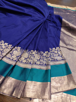 Navy blue katan silk saree with sliver zari weaving