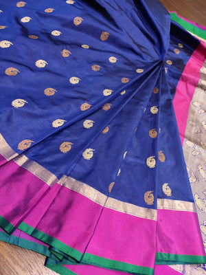 Blue katan silk saree with golden booties all over and pink border - EthnicRoom
