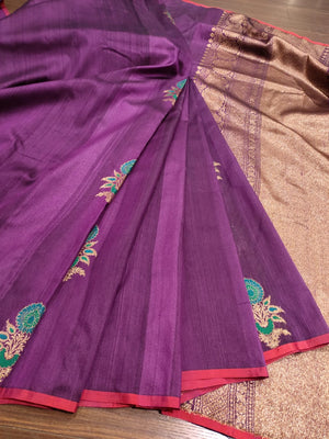 Purple kora silk saree with golden booties all over
