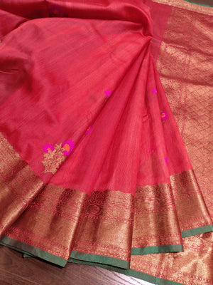 Red kora silk saree with golden zari weaving and booties all over