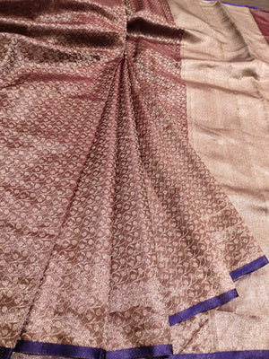 Brown color Pure tusser katan silk brocade saree with overall jaal and snall green border - EthnicRoom
