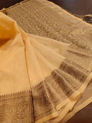 Light beige linen saree with golden zari weaving - EthnicRoom