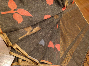 Brown linen sarees with golden flower all over - EthnicRoom