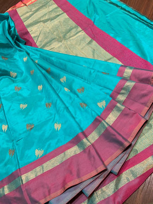 Sea green katan silk saree with golden booties all over