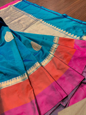Blue kora silk saree with golden booties all over - EthnicRoom
