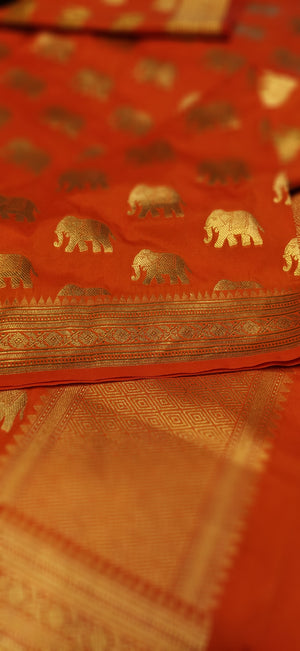 Orange silk dupatta with allover elephant motifs - EthnicRoom
