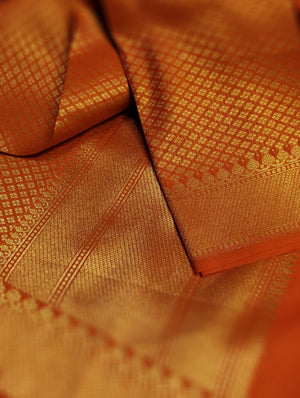 Orange silk brocade dupatta