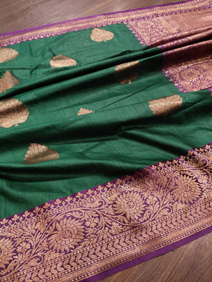 Green pure silk saree with golden zari weaving and booties all over - EthnicRoom