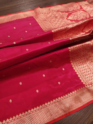 Red pure silk saree with golden zari weaving and booties all over