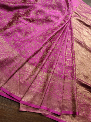 Maroon pure silk saree with golden weaving all over and zari weaving