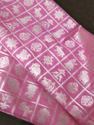 Silk fabric in pink with silver checks zari weaving allover