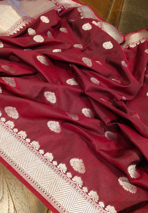 Wine colour dupatta with silver zari weaving and booties all over
