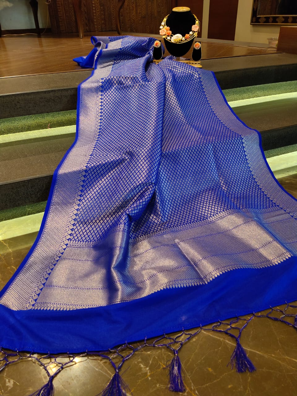 Blue dupatta with silver zari weaving and booties all over - EthnicRoom