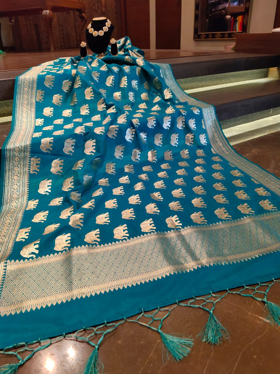 Blue dupatta with silver zari weaving and motifs all over - EthnicRoom