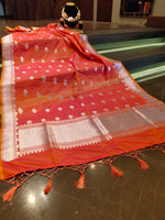 Orange dupatta with silver zari weaving and booties all over