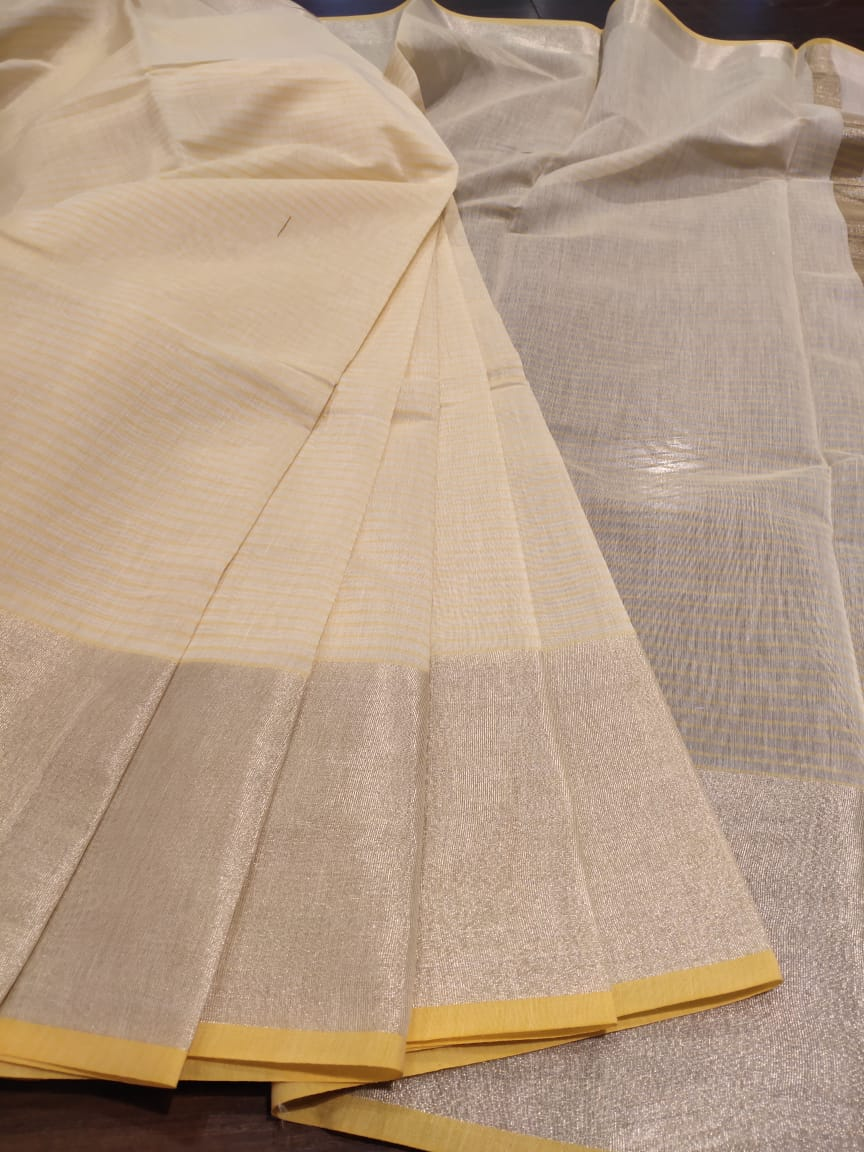 White with yellow stripes chanderi saree with sliver zari weaving