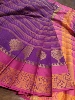 Purple Chanderi saree with golden zari weaving - EthnicRoom