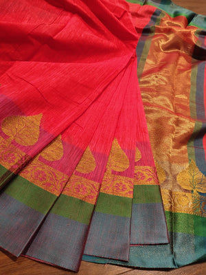 Red Chanderi saree with golden zari weaving and green border