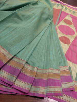 Light green chanderi saree with golden, orange, pink border