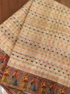 Digital print border on cream cotton saree with multicolor dots weaving - EthnicRoom