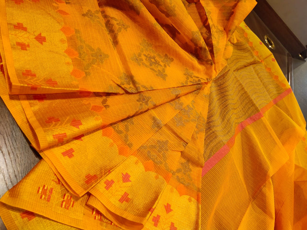 Dark yellow kota saree with golden zari weaving and red booties all over on zari - EthnicRoom