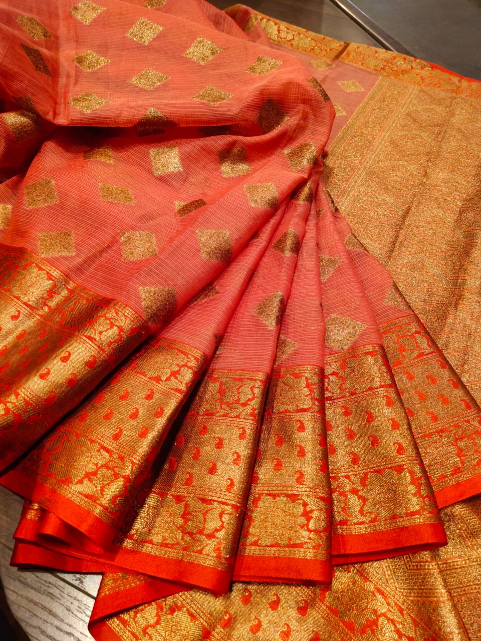 Dark peach kota saree with golden zari weaving and booties all over - EthnicRoom