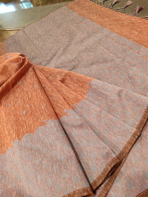 Brown linen saree with grey motif border and grey booties all over - EthnicRoom
