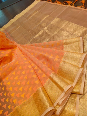 Light peach kora saree with golden zari weaving - EthnicRoom