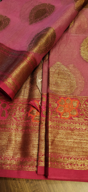 Pink kora silk saree with allover butties contrasting dark pink zari border ,anchal and blouse - EthnicRoom