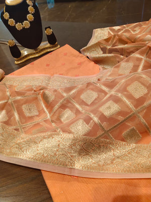 Orange chanderi dress material with silver weaving on dupatta - EthnicRoom